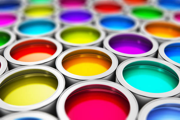 color paint cans - multi colored stock pictures, royalty-free photos & images