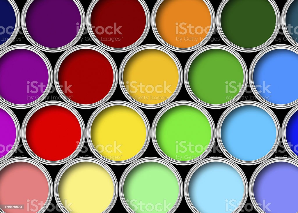 Color paint tins stock photo