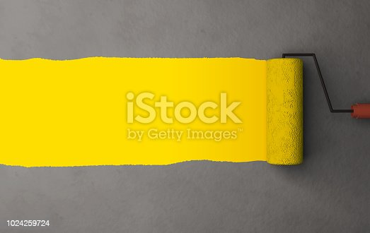 3DRender Yellow color painting by the roller brush and wall texture background with space for advertising header or details
