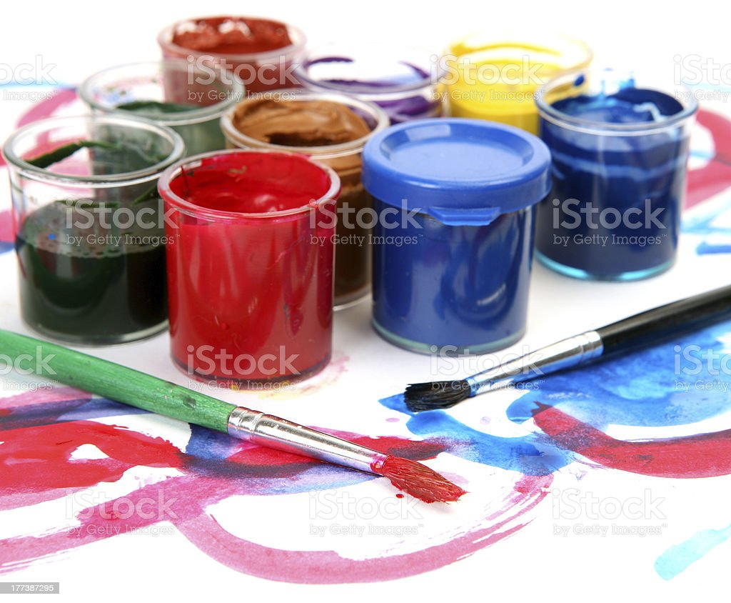 Color paints and brush royalty-free stock photo