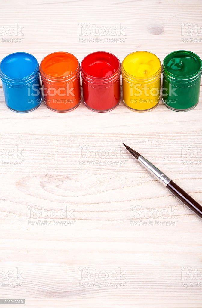 Color paints with brush portrait view stock photo