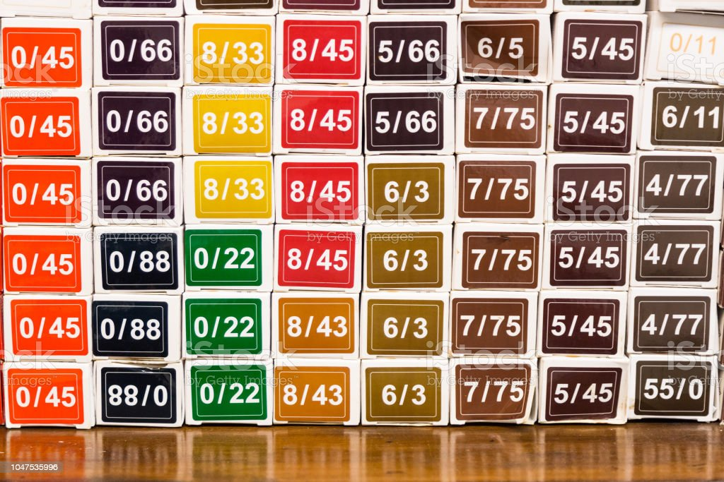Color palette chart of chemical hair dye color at salon stock photo