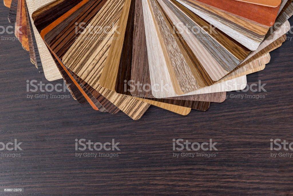 Color palette for furniture on desk. stock photo