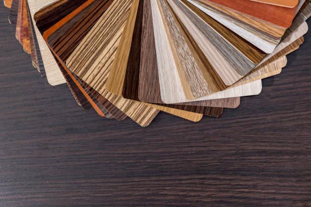 color palette for furniture on desk. - kunststoff farbe stock-fotos und bilder