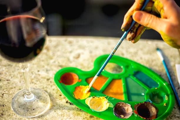 farbpalette - glasmalerei stock-fotos und bilder