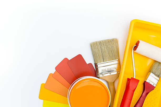 color palette with paint tools and accessories stock photo