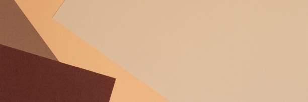 Farbpapiere Geometrie Komposition Banner Hintergrund mit Beige, hellbraun und dunkelbraun tönerseitlich. – Foto