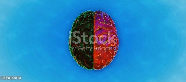 585087100 istock photo Color pencil drawing of human brain illustration 1220187313