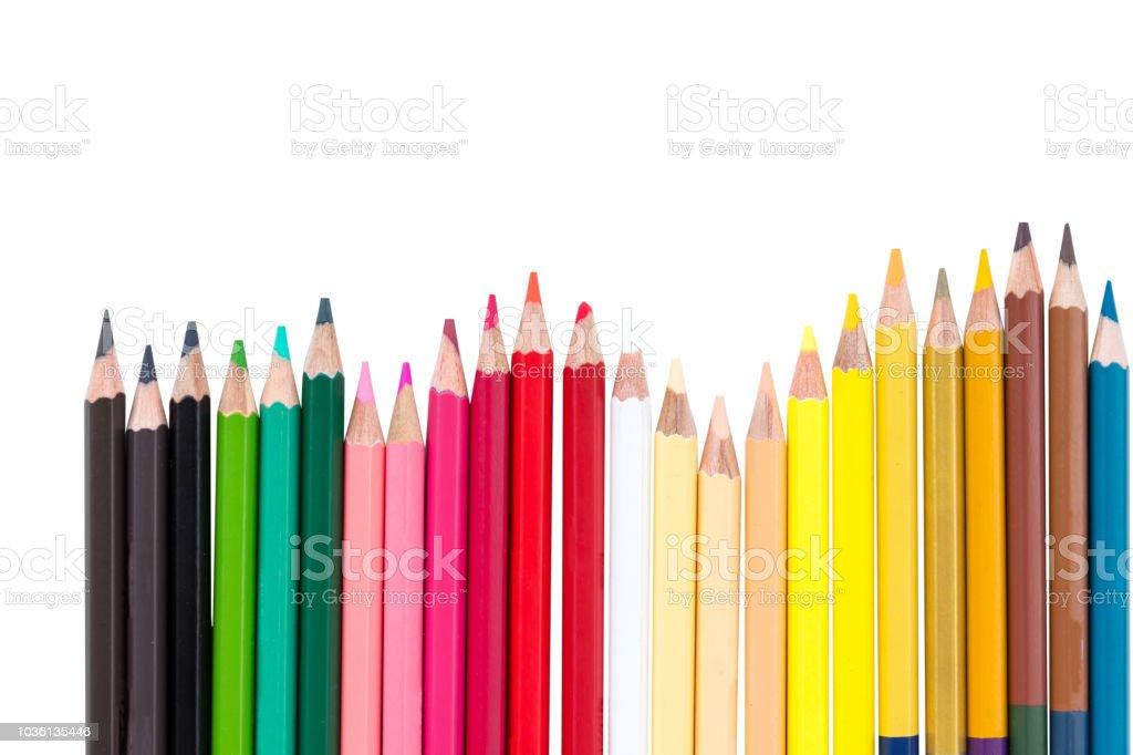 color pencil fence arrange stock photo