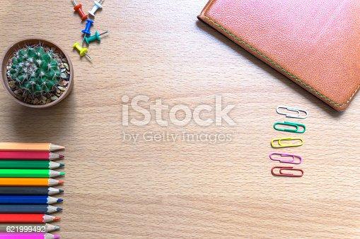 621843818istockphoto color pencil on desk 621999492