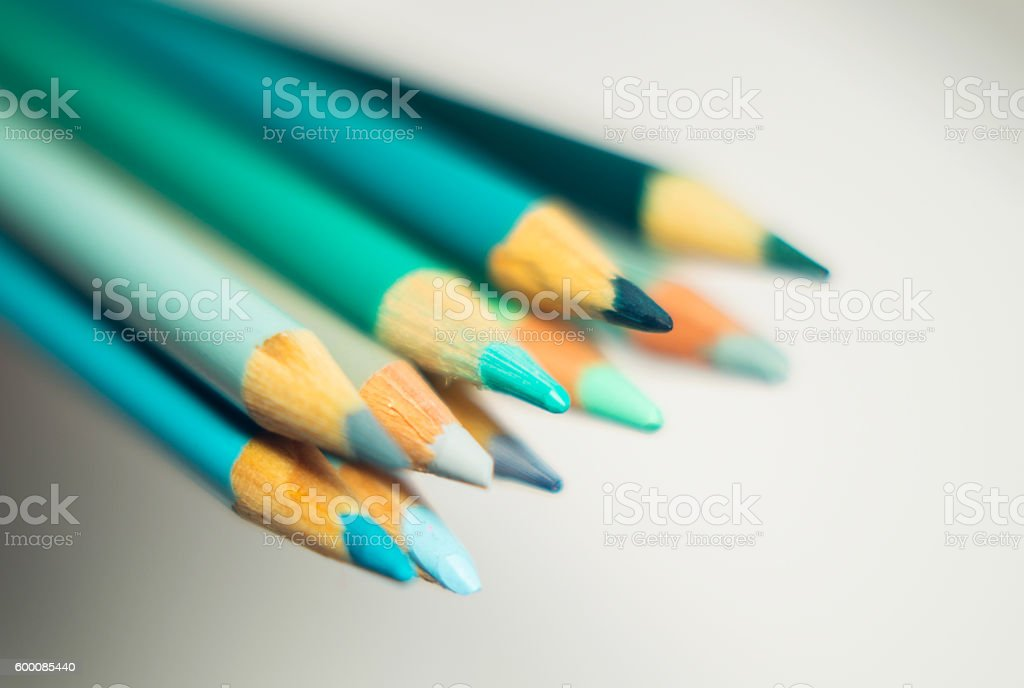 color pencil tips sharpened teal, aqua, turquoise, green stock photo