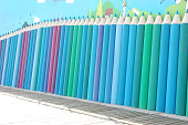 Color pencil wall, hand-painted walls,