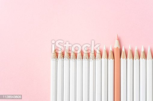 1138523356 istock photo color pencil with leadership, teamwork concept 1128543805