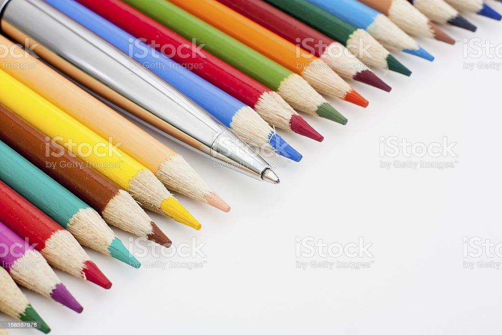 백색과 연필, 펜 royalty-free 스톡 사진