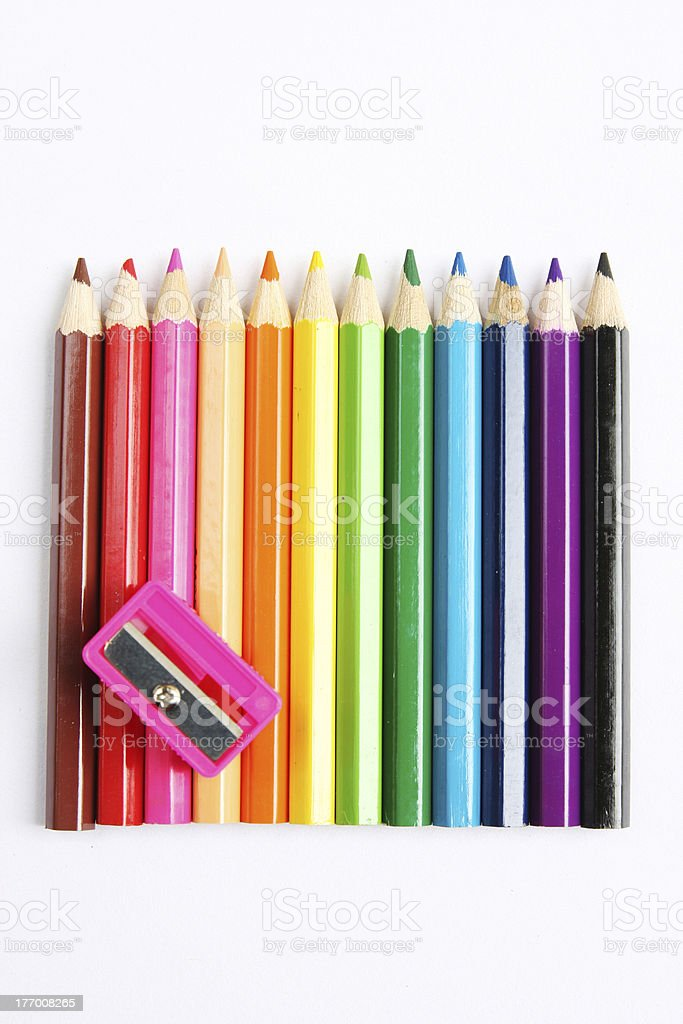 color pencils and sharpener royalty-free stock photo