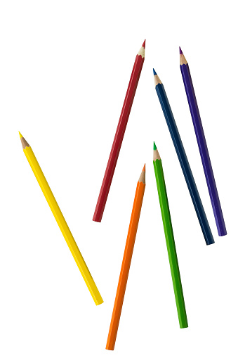 Color pencils and white background
