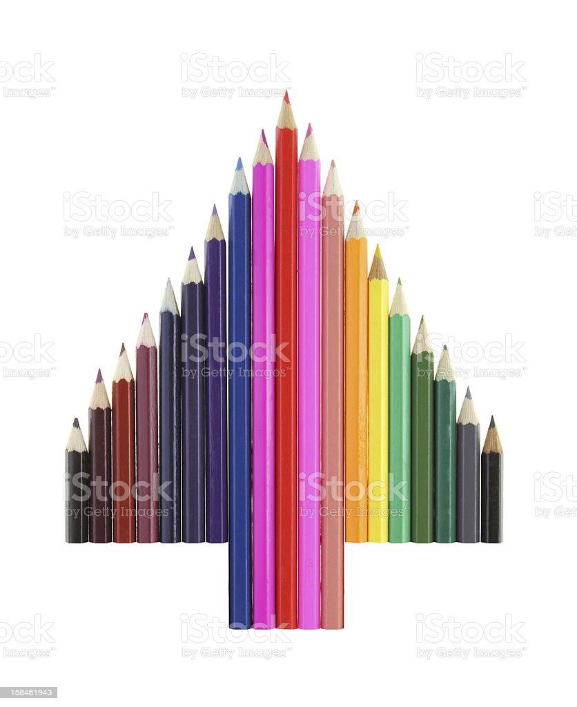 Color pencils Christmas tree stock photo