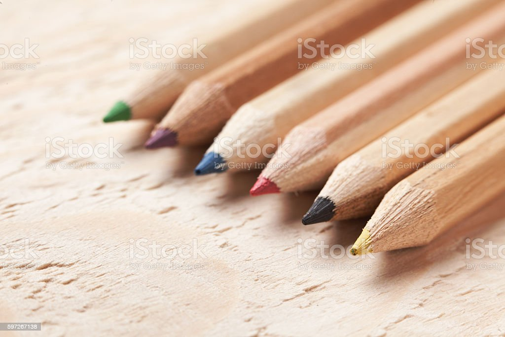 Color pencils - crayons, close-up royalty-free stock photo
