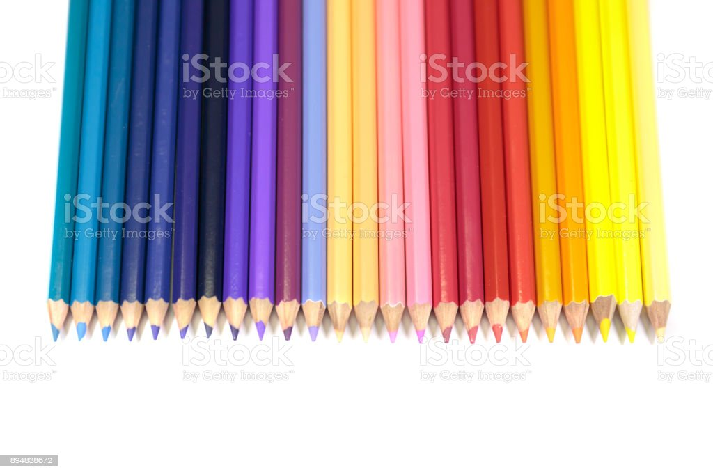 Color Pencils for Kids Facing Down in Straight Line on Pure White Background stock photo