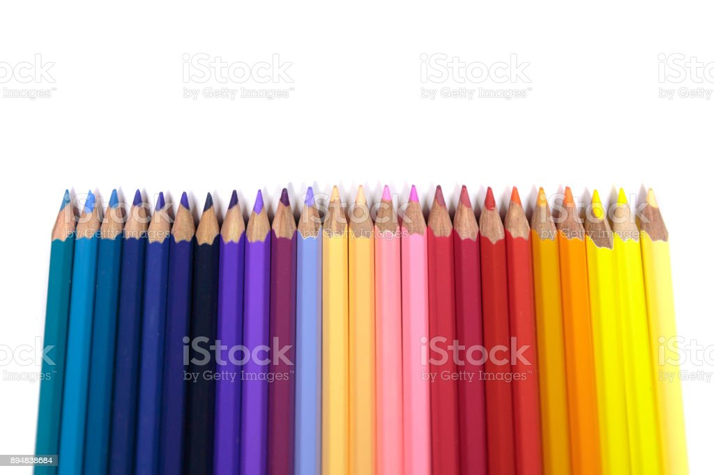 Color Pencils for Kids Facing Up on Pure White Background stock photo