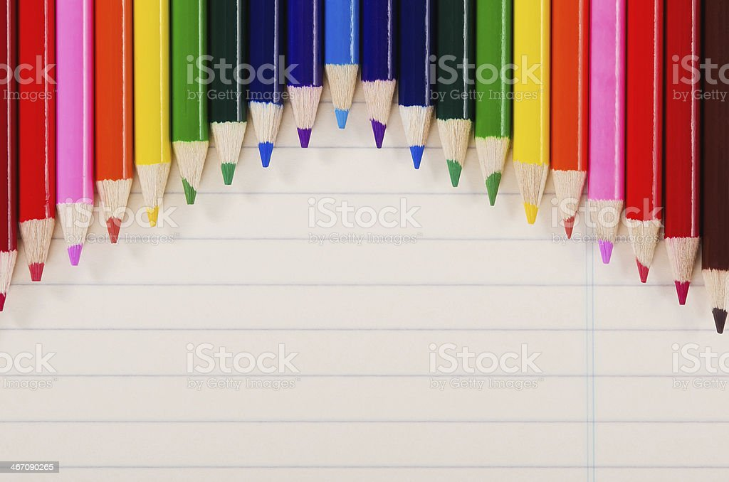 Color pencils in a row royalty-free stock photo