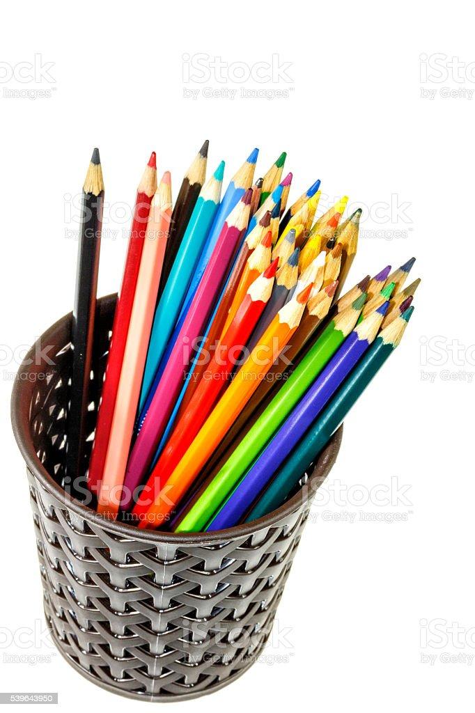 Color pencils in box stock photo