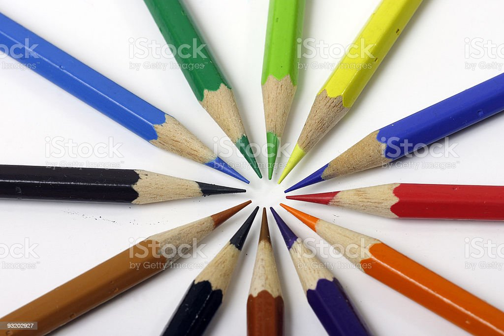 Color pencils in circle stock photo