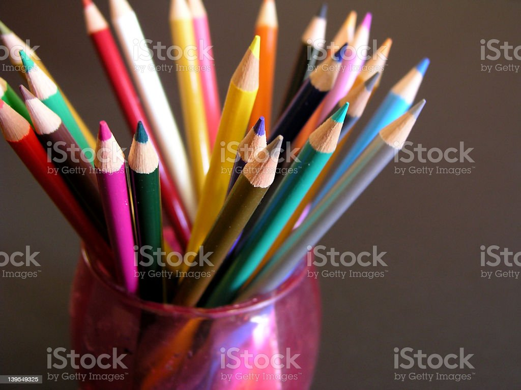 Color pencils in cup royalty-free stock photo