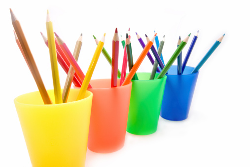 color pencils in cups