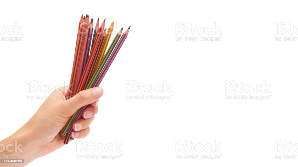 color pencils in hand isolated on white background. copy space, template stock photo