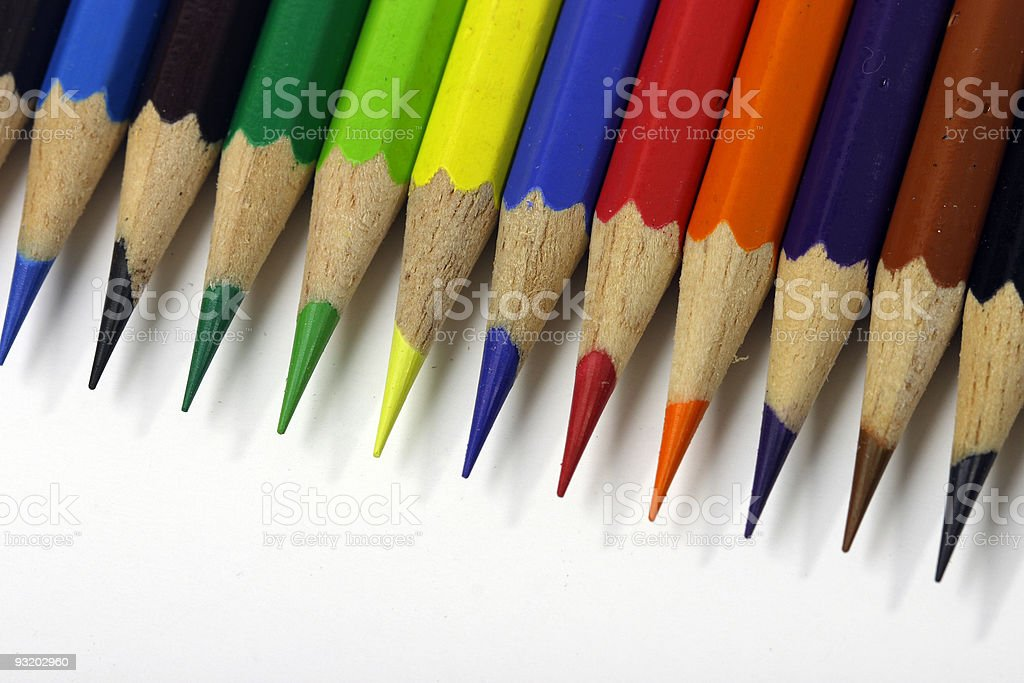 Color pencils in slanted line stock photo