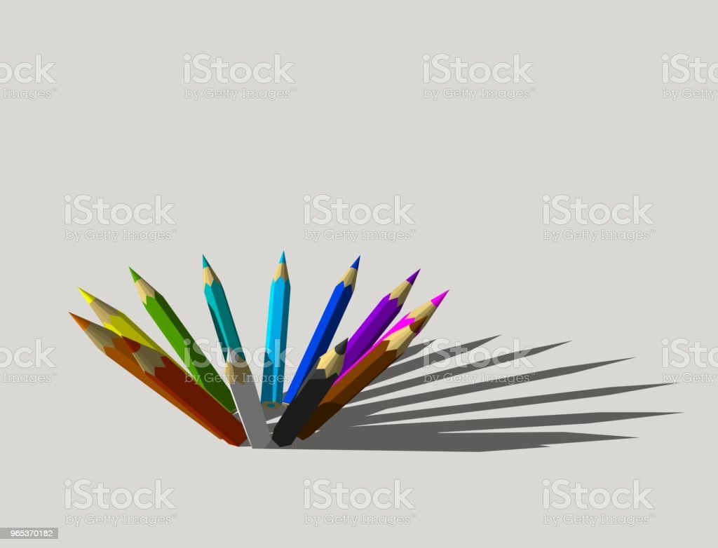 Color pencils. Isolated on gray background. 3D rendering illustration. zbiór zdjęć royalty-free