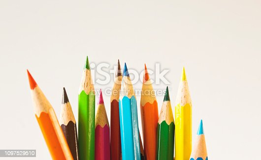 Color pencils isolated on white background. Close up.