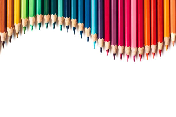 color pencils isolated on white background - pencil stock pictures, royalty-free photos & images