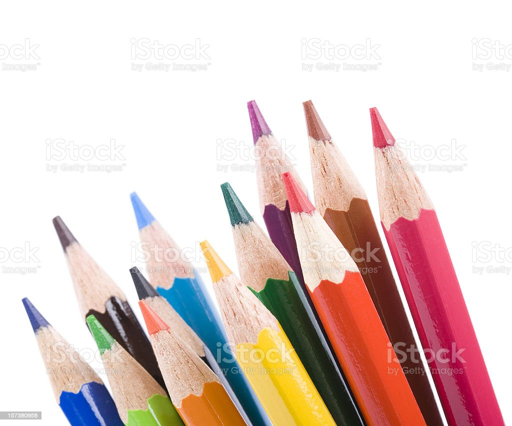 Color pencils, isolated on white background - Royalty-free Black Color Stock Photo