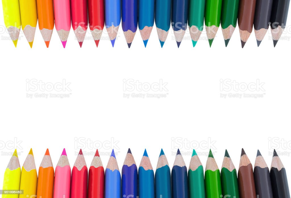 Color pencils isolated on white background. Soft trendy pastel colors, close up. Colored crayons. stock photo