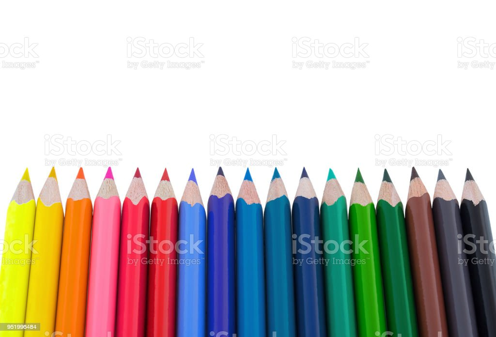 color pencils isolated on white background soft trendy pastel colors