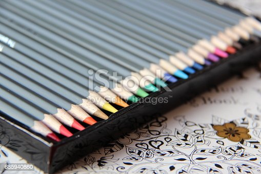 istock Color pencils of different shades in a black box 685940860