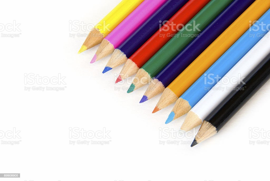 Color pencils on white royalty-free stock photo