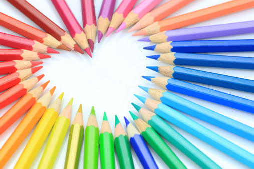 colorful crayon heart shape with white background