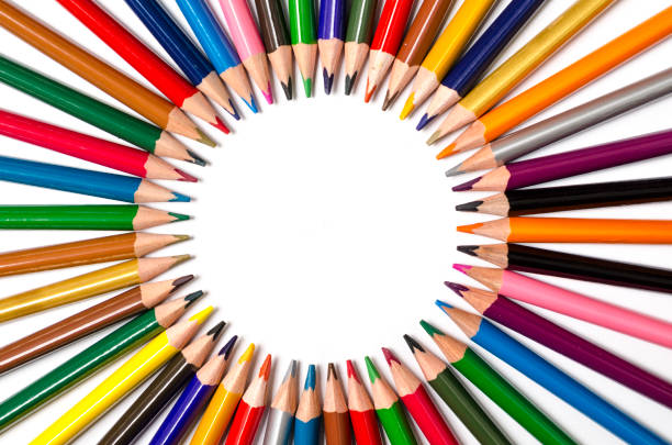 Color pencils roundly arranged stock photo