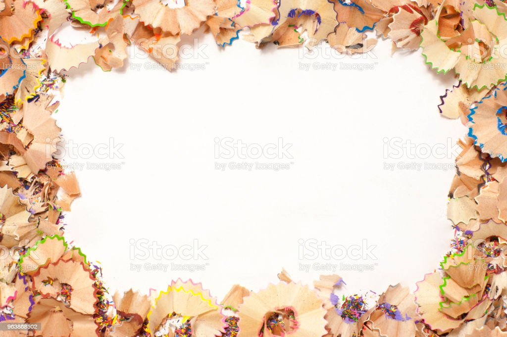 Color pencils shavings on white background - Royalty-free Accuracy Stock Photo
