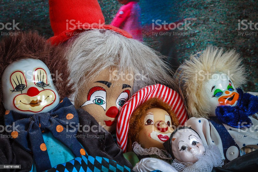 Color picture of clown puppets close-up stock photo