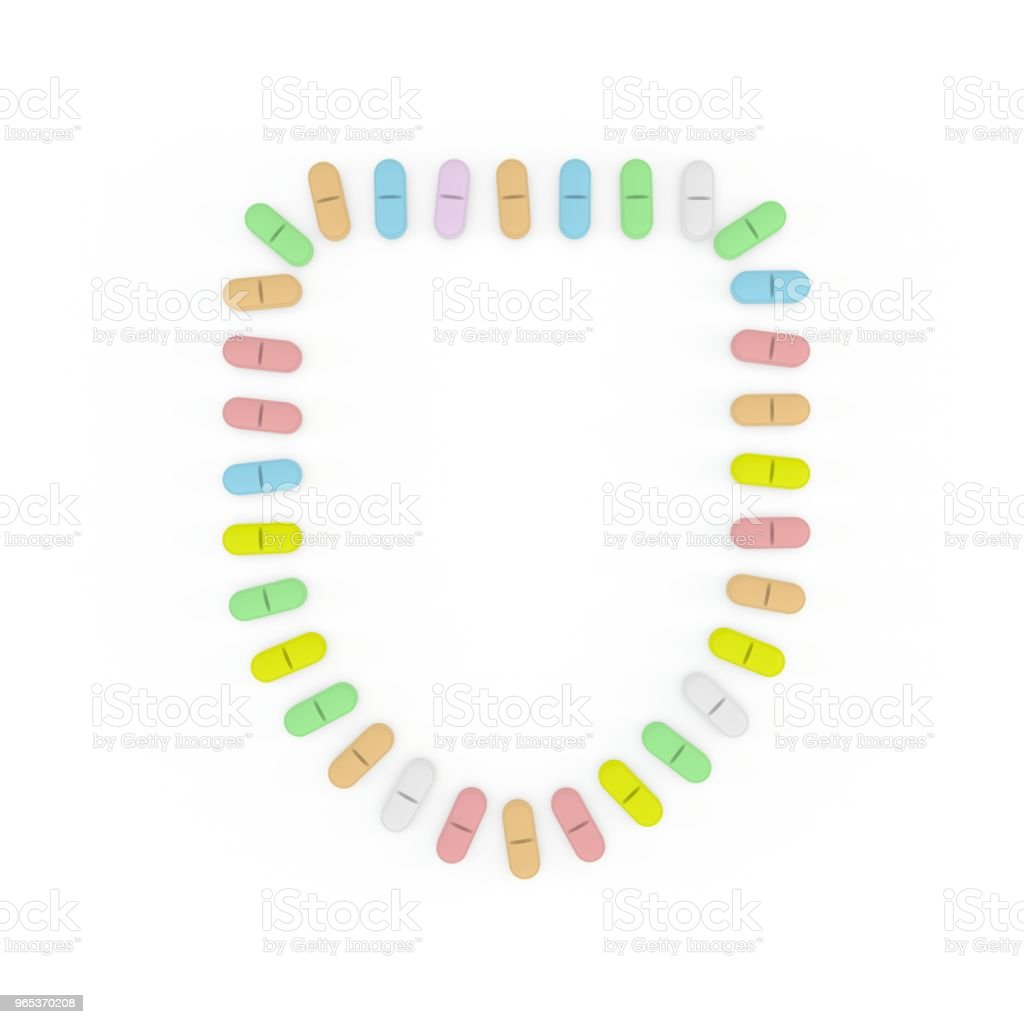 Color Pills frame. Isolated on white background. Shield. zbiór zdjęć royalty-free