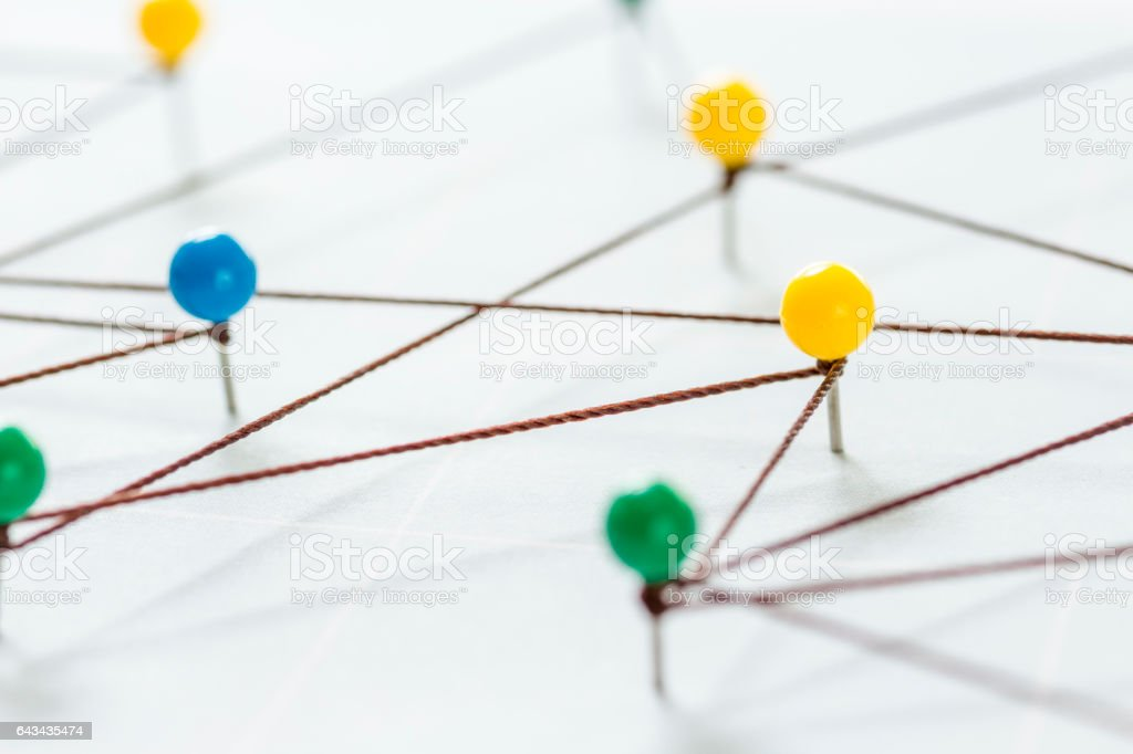 Color pins connected stock photo