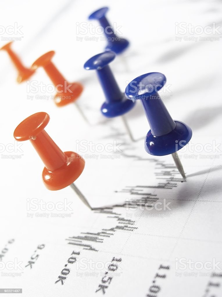 Color Pins on stock chart. royalty-free stock photo