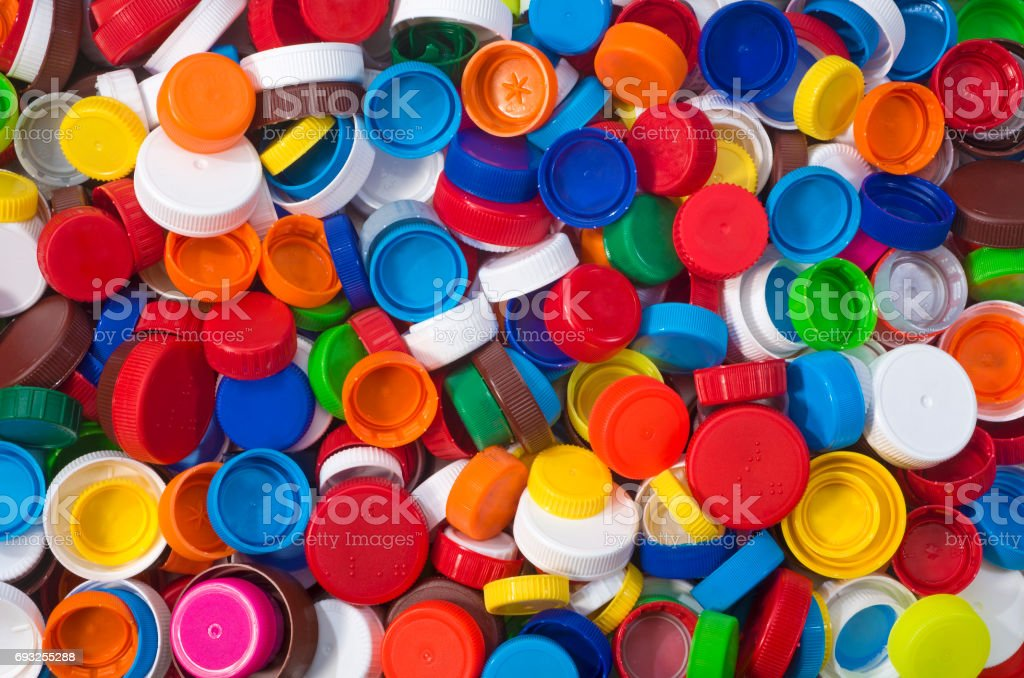 Color Plastic Caps Background stock photo