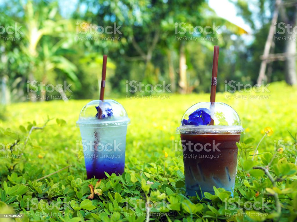 A color plastic glass of iced latte with milk mixed with butterfly pea on green ground. Rest and relax concept. stock photo
