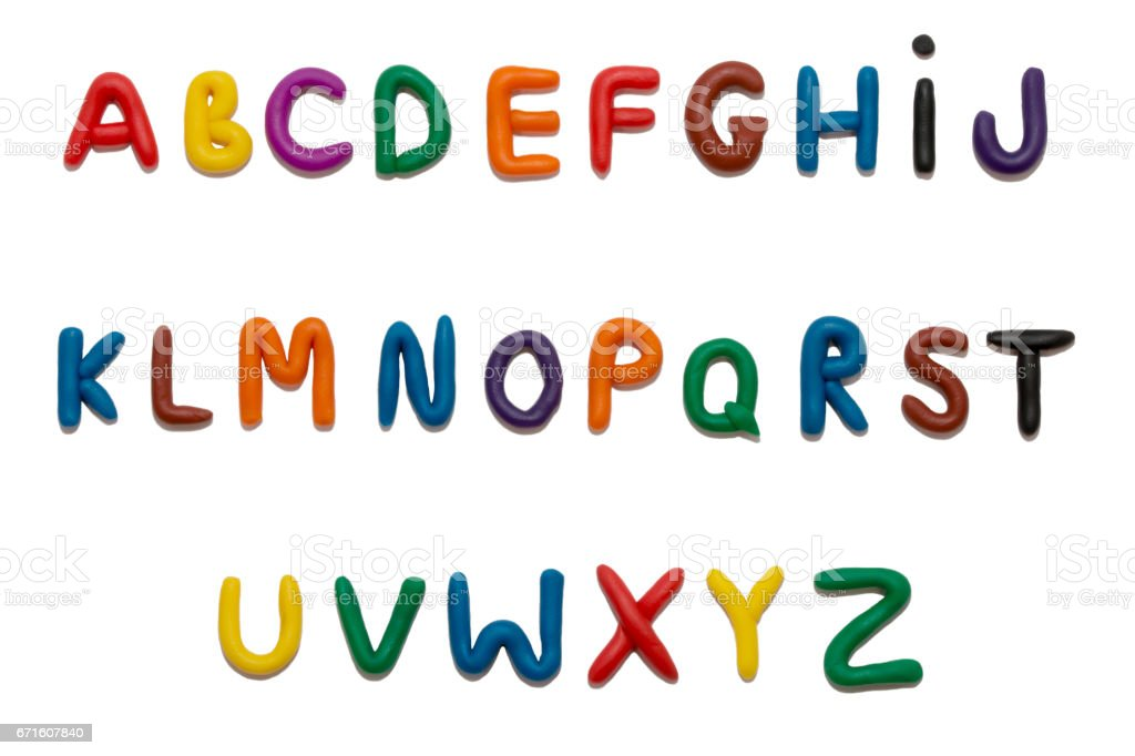 Color plasticine alphabet, isolated stock photo