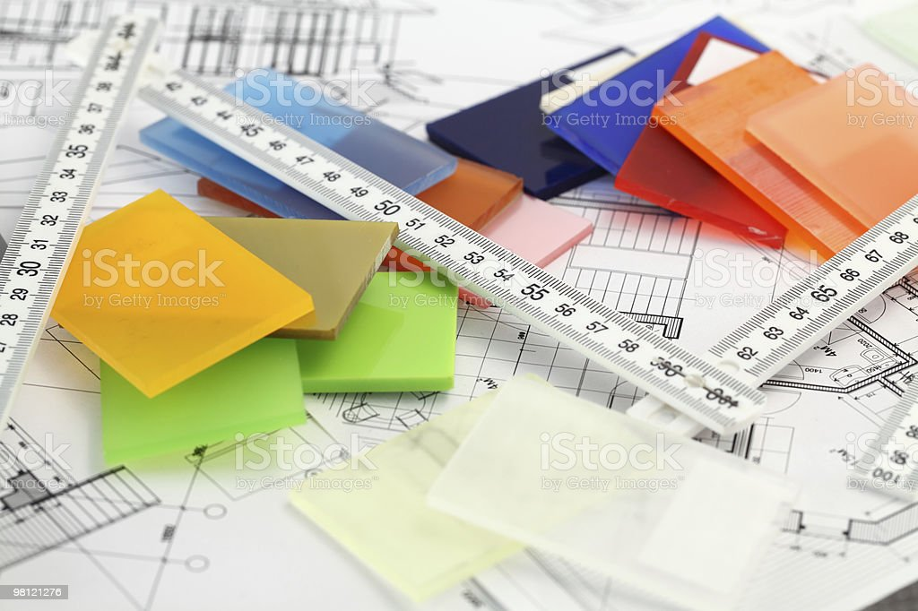 color plastics and architectural drawings royalty-free stock photo